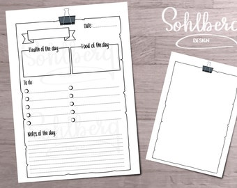 Daily Bullet Journal Health Template