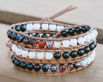 Wrap bracelet, Leather wrap, Boho jewelry, Crystal bracelet, Agate bracelet