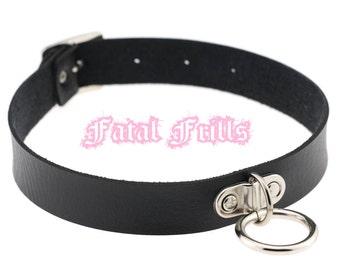 Black Leather O Ring Choker O-Ring Collar Fetish Goth Punk Bondage 90s Slave Adjustable Necklace Vegan