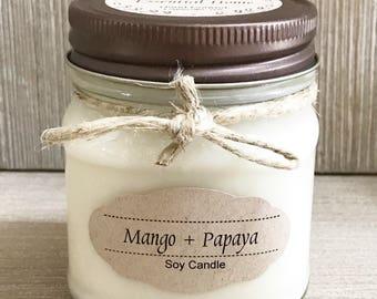 Mango + Papaya Candle / Soy Candle /  Aromatherapy Candle