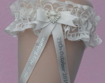 Ivory Cream Personalised Wedding Garter with Lucky Sixpence
