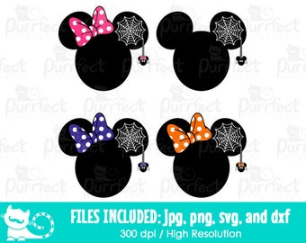 Mickey and Minnie Spider Web Ear SVG, Disney Halloween Spider Web SVG, Disney Digital Cut Files in svg, dxf, png and jpg, Printable Clipart