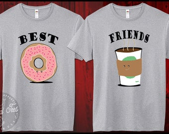 Best Friends Coffee Donut Crewneck Sweatshirt Funny Best Friends Shirt BFF Couples Gift for Friend Womens Girl