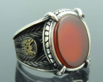 925 Sterling Silver Turkish Ottoman Agate Stone Mens Ring
