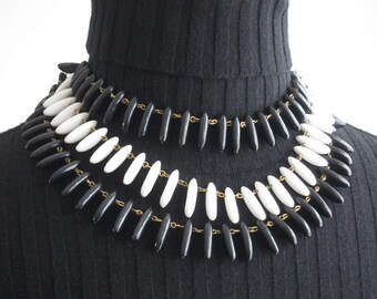 RAS of the 50's multi-stranded Lucite black and white neck