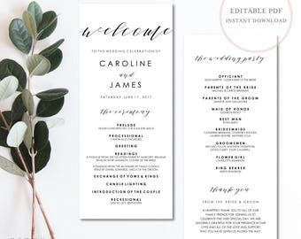 Wedding Programs. Wedding Program Template. Wedding Programs Instant Download.  Wedding Program Template Download. Printable Program. (SH)