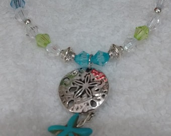 Anklet Sand Dollar and Starfish, Charm Clear, Parriot Green, Blue and Teal