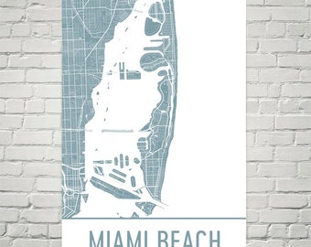Miami Beach Map, South Beach Art, South Beach Print, Miami Beach FL Poster, Miami Beach Florida, Beach House Signs, Beach House Decor, Gifts