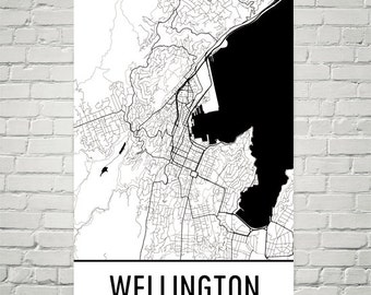 Wellington Map, Wellington Art, Wellington Print, Wellington New Zealand Poster, Wellington Wall Art, Map of Wellington, Gift, Modern, Art