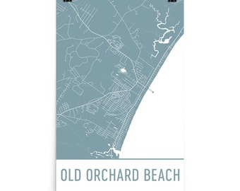 Old Orchard Beach ME Map, Old Orchard Art, Orchard Beach Print, Old Orchard Beach Maine Poster, Old Orchard Beach Wall Art, Gift, Print