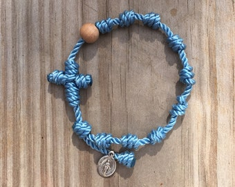 Hand Knotted Rosary Bracelet with Twine, Wood Bead, and Small Italian Miraculous Metal