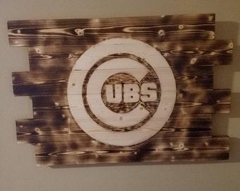 CHICAGO Cubs wall art, Rustic wall art, Wood burned sign, man cave