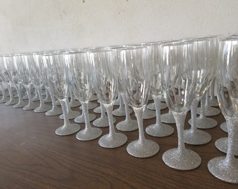 Bridesmaid Glitter champagne flutes- set of 12