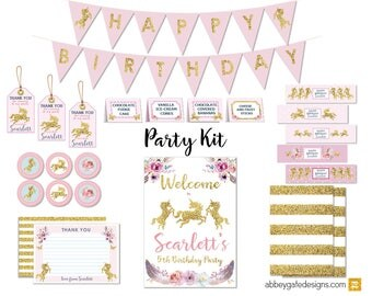 Unicorn Party Kit, Unicorn Printable Party Kit, Unicorn Birthday Party, Unicorn Party Decorations, Gold Unicorn Party Kit, Unicorn Party
