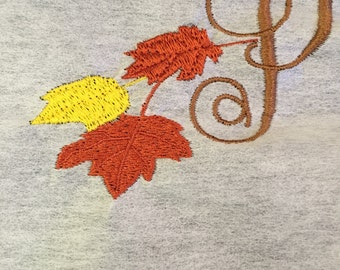 Adult Monogrammed Fall Hanging Leaves with Initial