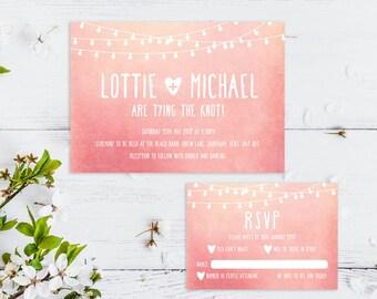 Printable Wedding Invitation/ RSVP/ Save the date/ Thankyou card/ PDF/ Download/ Custom/ Fairy lights/ Blush/ Watercolour/ Lottie suite #002