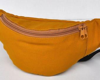 Fanny Pack  1 zipper  darker yellow ,bum bag,waist bag,belt bag,hip pouch,bags & purses festival bag , festival bag ,camping bag