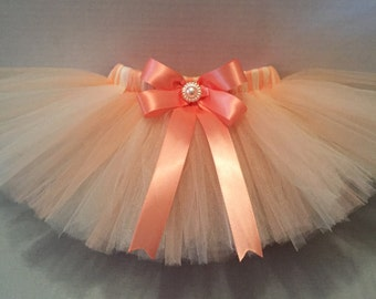 PEACH And IVORY TUTU, Tutu, Baby Tutu, Peach and Cream Tutu, Infant Tutu, Tutu for Babies, Newborn Tutu, Tutu and Hairbow, Peach Tutu