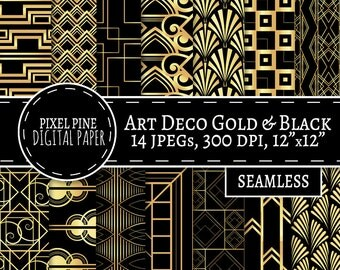 Art Deco Digital Paper, 14 JPGs, Commercial Use, seamless black and gold digital paper, diy twenties scrapbooking, gatsby gold black paper