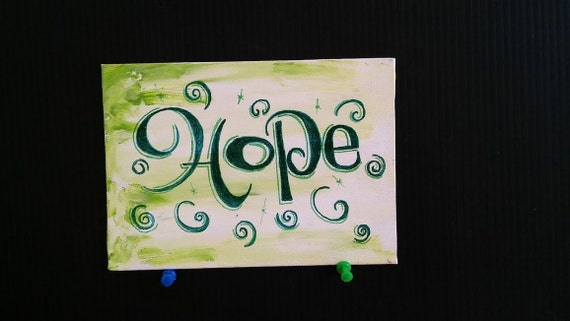 Whimsical Colorful Green Hope with swirls lettering on canvas panel wall hanging