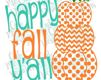 SVG DXF PNG cut file cricut silhouette cameo scrap booking Happy Fall Y'all Stacked Pumpkins