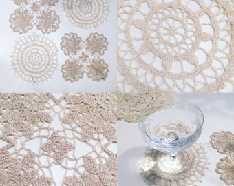 Doilies/Coasters, 4 Hand crochet vintage coasters/doilies/snowflakes