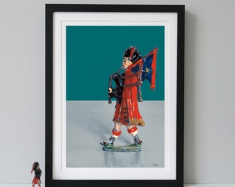 Scottish piper,Fine Art Print,Scottish bagpiper, Bagpipes,Scottish art,Highland piper,toy art, Limited Edition Prints - BEST OF BRITISH -
