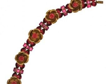 1930's Floral Red Rhinestone Bracelet