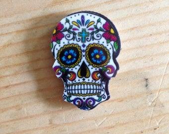 Pack of 4 Handmade Planar Resin Skull Fridge Magnets