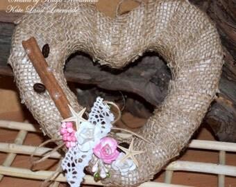 Rustic Burlap Wreath, Romantic Front Door Wreath, Valentines Day Decor, Wedding Decor, Rustic Home Decor,  Valentines Day Gifts