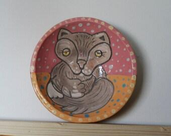 "Ceramic plate ""Wolf"". Plate handmade. Painting Wolf. Gray Wolf. plate"