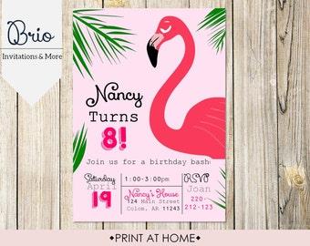 Flamingo Birthday party, Printable, Print at Home