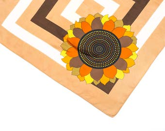 Vintage sunflower scarf, 1960's print scarf, vintage scarf, sunflower scarf, neck scarf, retro scarf, mod scarf,vintage scarf,Christmas gift