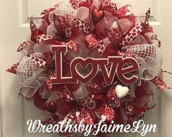 Valentine Wreath, Valentine's day wreath, Red wreath, front door wreath, Love wreath