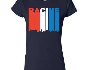Retro Style Red White And Blue Racine Wisconsin Skyline Women's T-Shirt