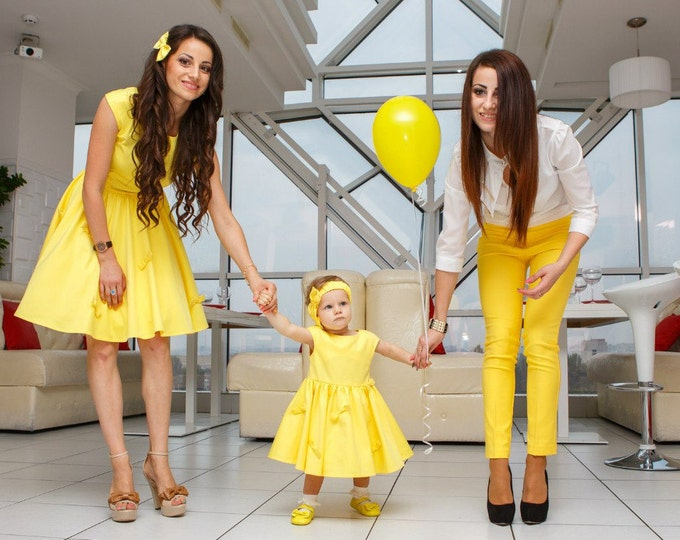 Mother Daughter matching dress Mommy and me cotton yellow dress Mom Daughter matching midi dress Sleeveless bell dress