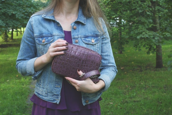 "Crossbody Bag the ""Marie-Plum "". Genuine leather. Handmade."