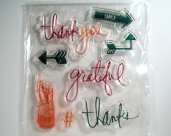 Small Clear Stamp Set thank you, grateful, thanks, words, text 8 stamps