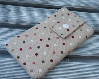 Phone pouch, Padded phone sleeve, Dotted Phone pouch, Fabric phone case, Cell phone cover, Dots, smartphone sleeve, mom birthday gift