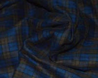 2 yards Blue/Brown Plaid Double Weave Cotton Coating Fabric 60W