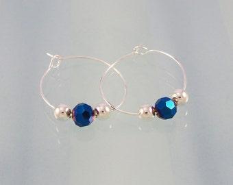 Blue crystal earrings / beaded silver hoop earrings