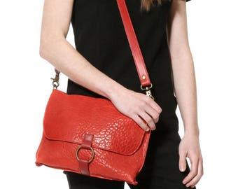 Red leather bag, convertible bag,messenger bag,leather shoulder bag,crossbody, red purse,leather clutch,courier bag, pochette, saddle purse