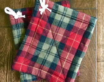 Red Plaid Potholders- wool- set of 2- with hanging loops