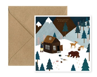 Square - mountain - Christmas card