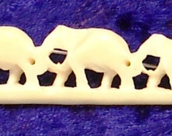 Vintage Carved Bone Elephant Brooch