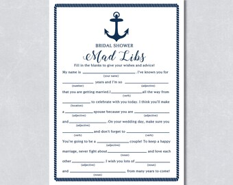 Bridal mad libs / Bridal shower game / Nautical navy blue / Anchor / Beach themed / DIY Printable / INSTANT DOWNLOAD