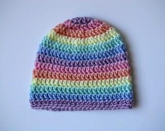 Custom Pastel Rainbow Handmade Crochet Baby Hat