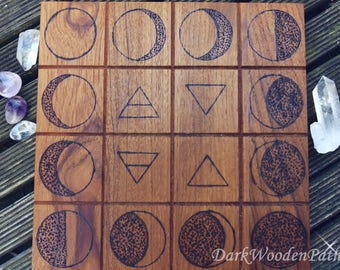 Crystal Grid with moon phases and elements ~ altar tile ~.