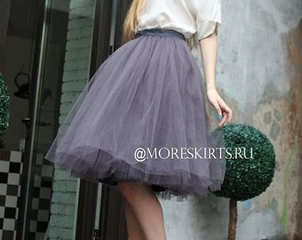 Tulle skirt with matching lining, fixed waistband with hidden zipper (color - 53 Grey)