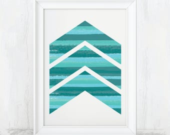 Chevron Poster, Printable Art, Geometric Artwork, Geometric Art, Geometric Pattern, Geometric Shapes, Chevron Print, Chevron Art, Chevron
